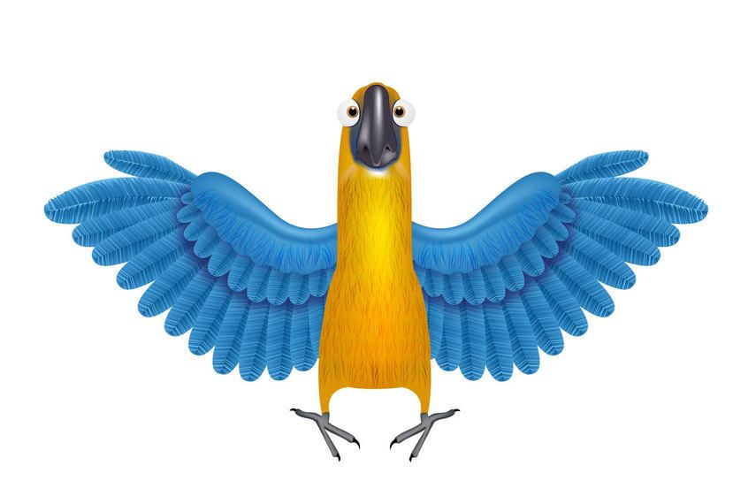 Loro Funky con alas detalladas