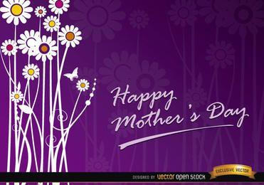 Cartão de presente de flores de dia das mães