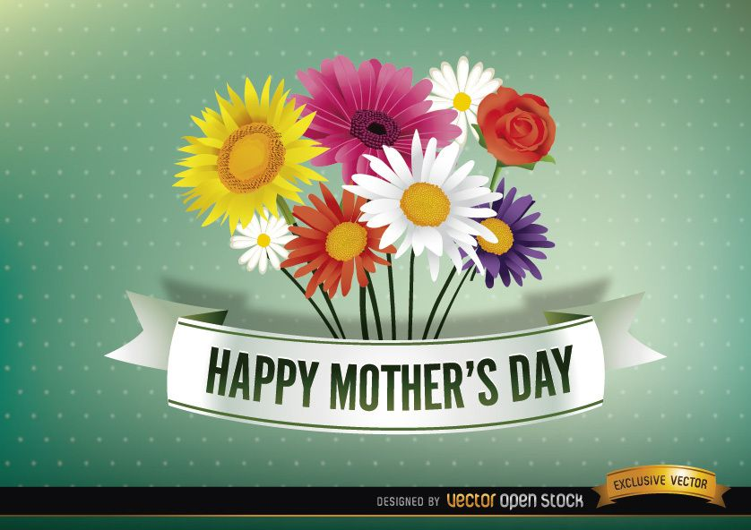Happy Mother?s day ribbon with daisies