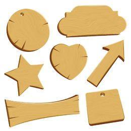 Paquete de emblema y estandarte de madera 3D