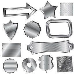 Paquete de escudo y insignia de metal realista