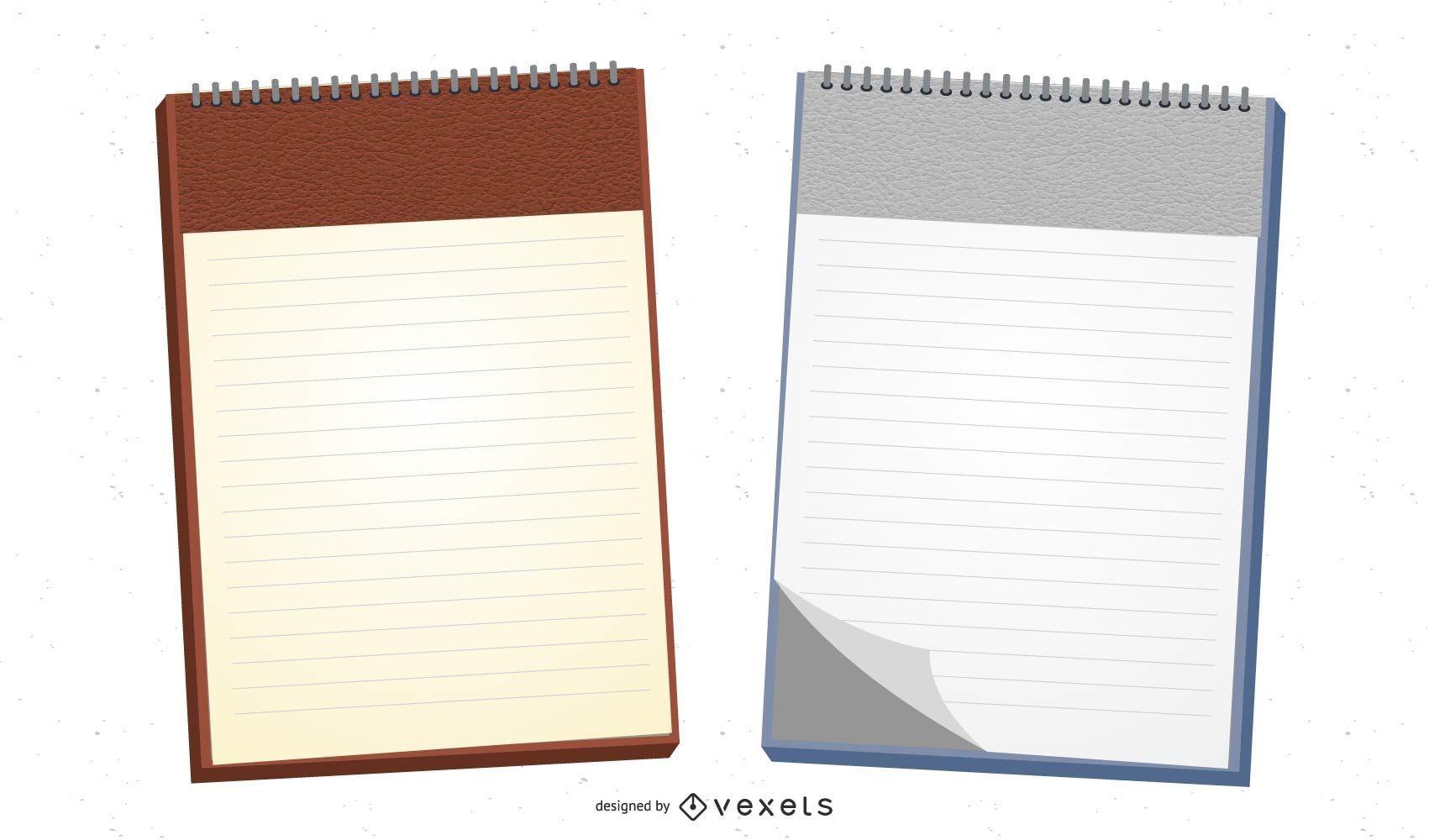 Papel para cartas realista de encadernação em espiral