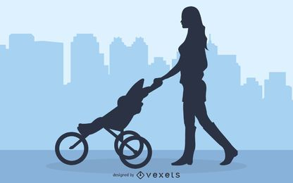 Mamãe andando com carrinho de bebê