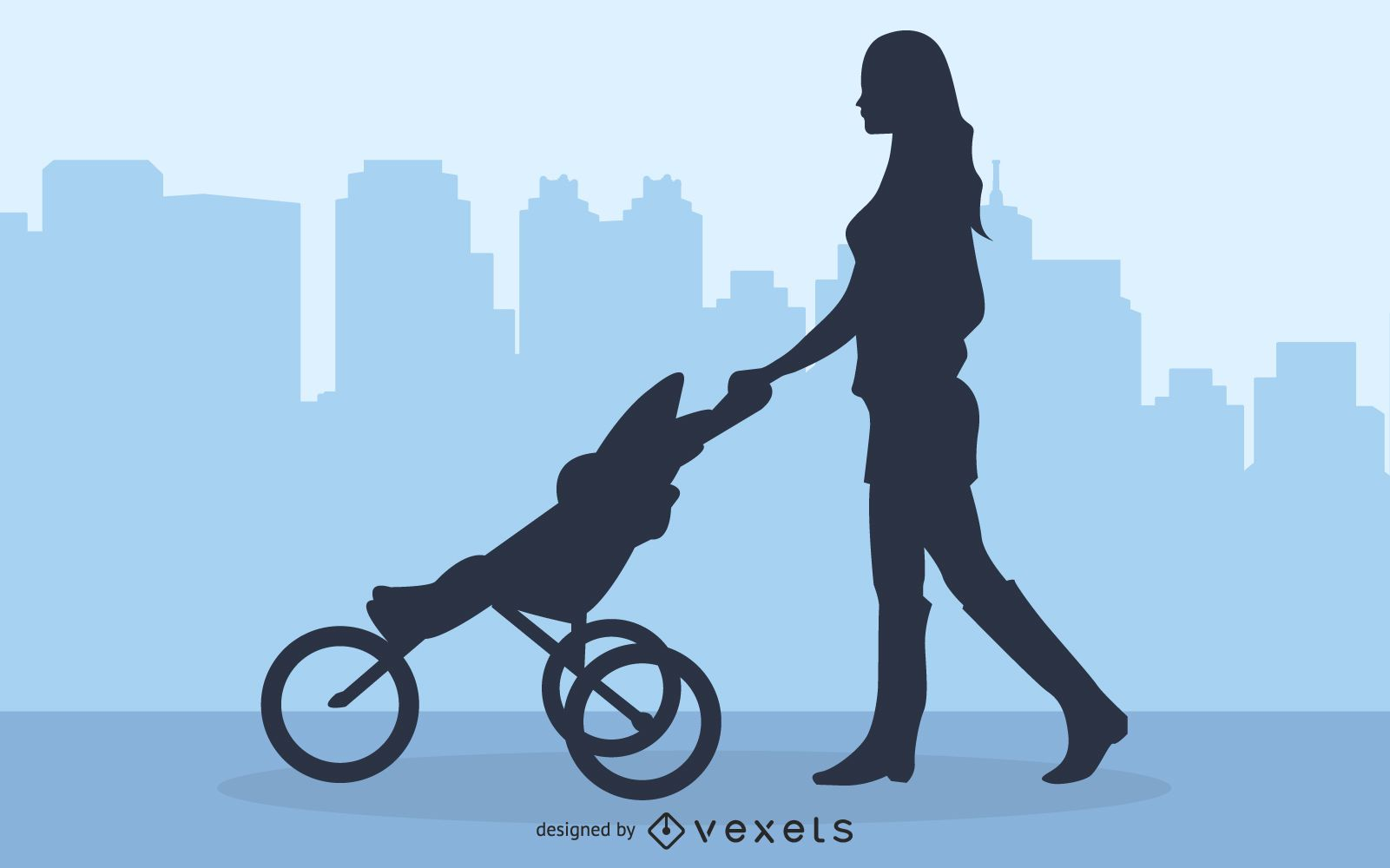Mommy Walking with Baby Stroller