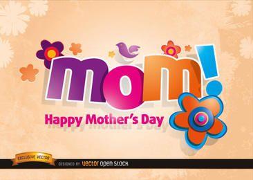 Logo de mamá con flores en el día de la madre
