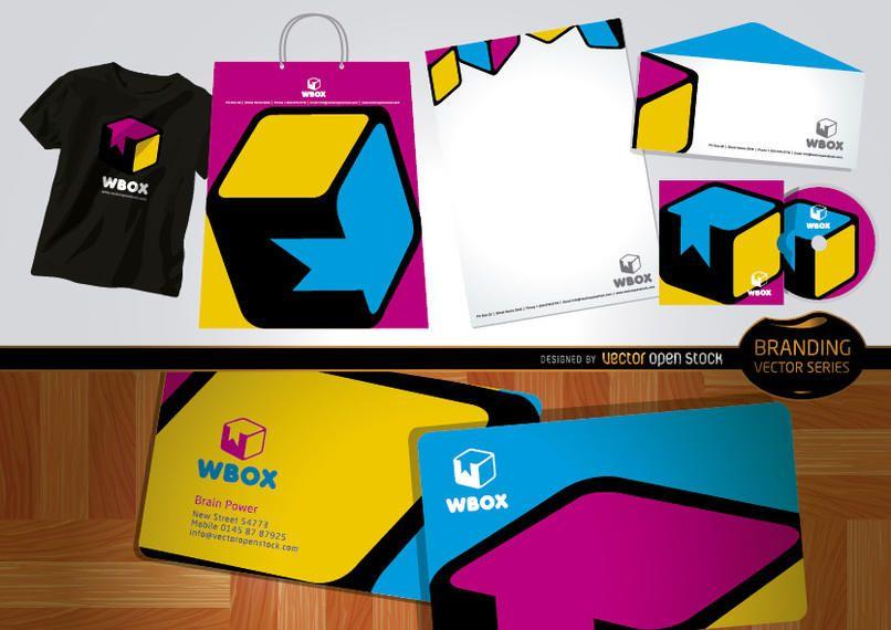 Diseño de marca WBox para papelería y camisetas.