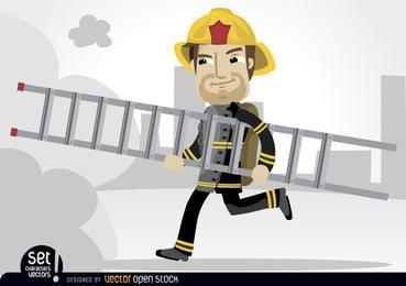 Bombero corriendo con escalera de rescate.