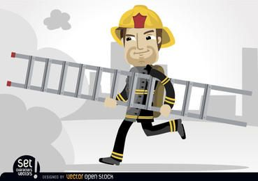 Fireman running with rescue ladder