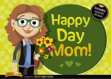 Happy day mom cartoon