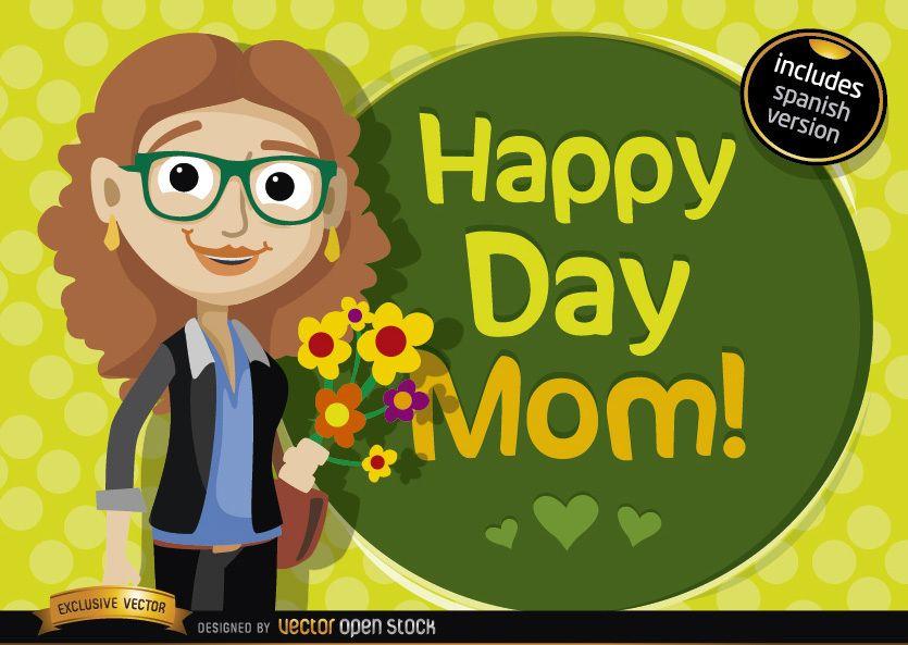 Happy day mom cartoon