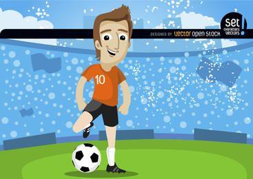 O jogador de futebol em campo com multidão
