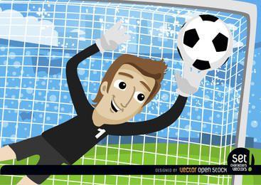Karikaturtorhüter stoppt Fußball