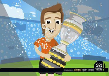 Futbolista con trofeo de la copa de fútbol.