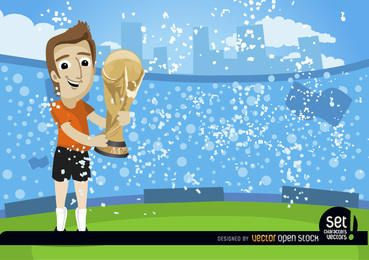 Jogador de futebol com troféu da Copa do Mundo da FIFA