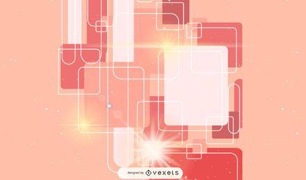 Fundo brilhante abstrato com quadrados arredondados