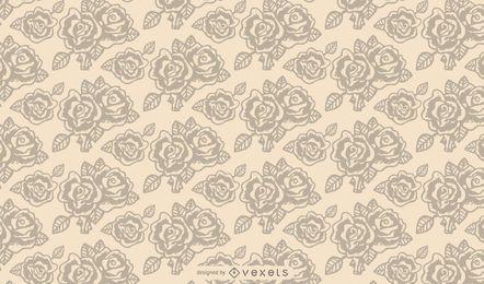 Vintage rosa esboçado sem costura padrão