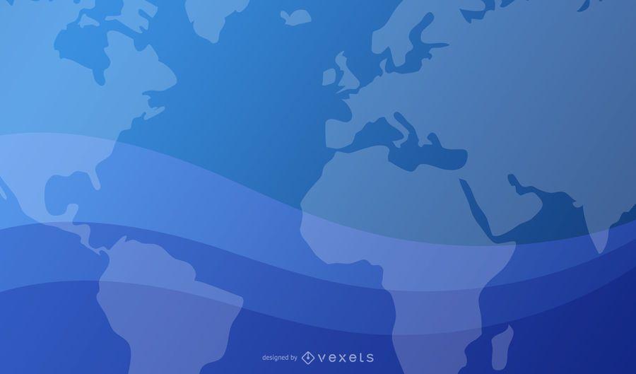 Blauer wellenförmiger Hintergrund mit Weltkarte und Planet