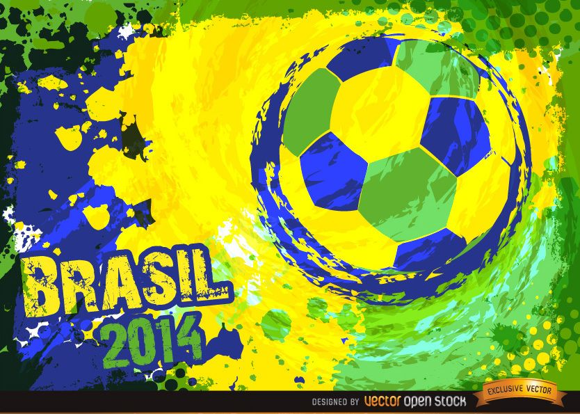 Brazil 2014 Blue green yellow football Background