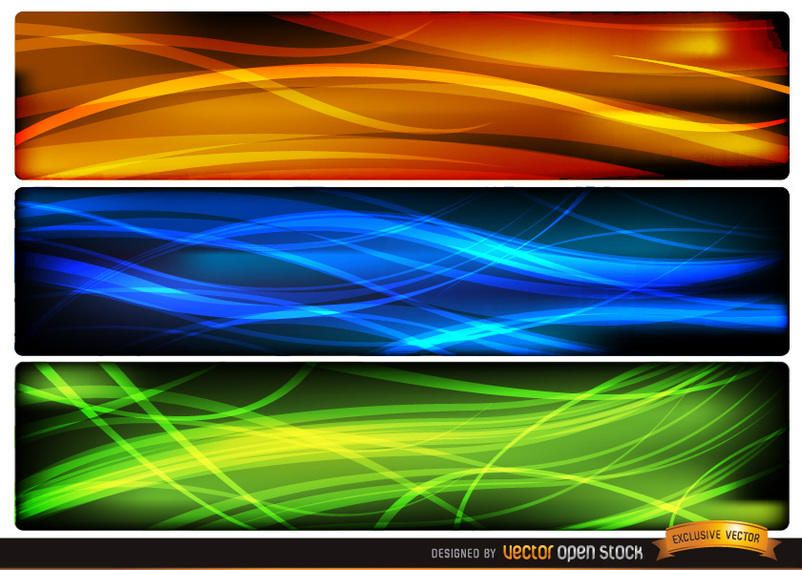 Abstract wave headers orange blue green - Vector download