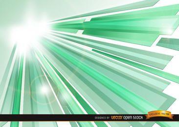 Verde Cristal feixes de Sun fundo