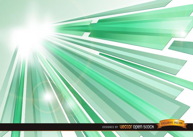 Fondo de rayos de sol de cristal verde