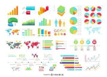 Conjunto de gráficos de informações 30 Plus com mapas e estatísticas