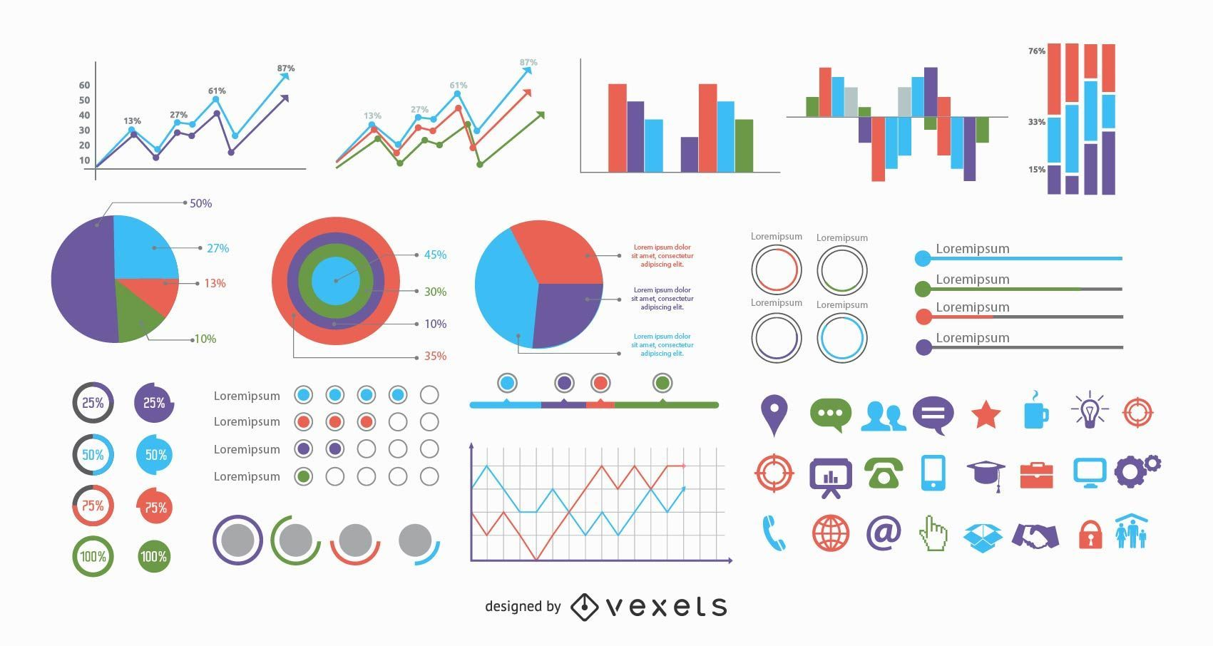 40 Plus Minimalist Info Graphics with Icons