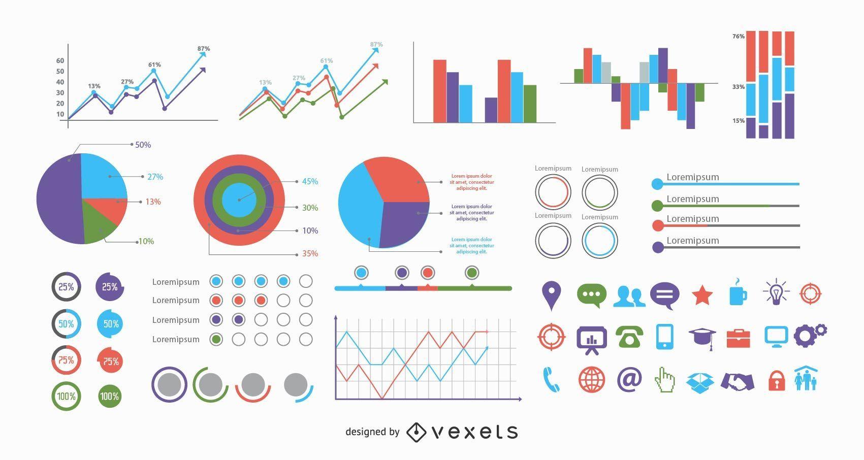 Más de 40 gráficos de información minimalista con iconos