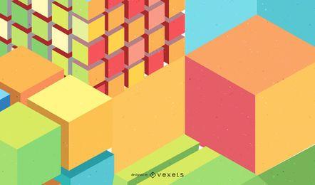 Fundo colorido de cubos 3D