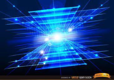 Technologischer abstrakter blauer Hintergrund mit hellen Aufflackern