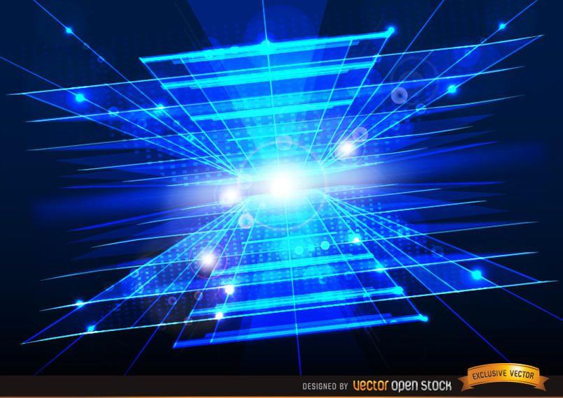 Fundo azul abstrato tecnológico com clarões de luz