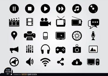 Multimedia iconos planos en blanco y negro Conjunto