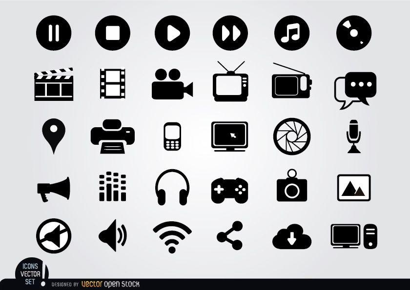 Conjunto de iconos planos multimedia