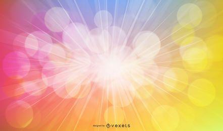Fondo abstracto colorido rayo de sol con burbujas