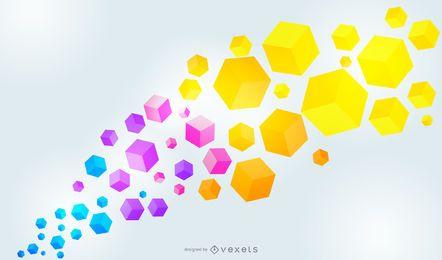 Fondo colorido con cubos fluorescentes