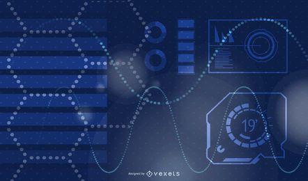 Design de plano de fundo com tema de tecnologia azul