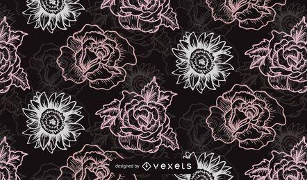 Nahtloser Retro Rosen-Muster-Schwarz-Hintergrund