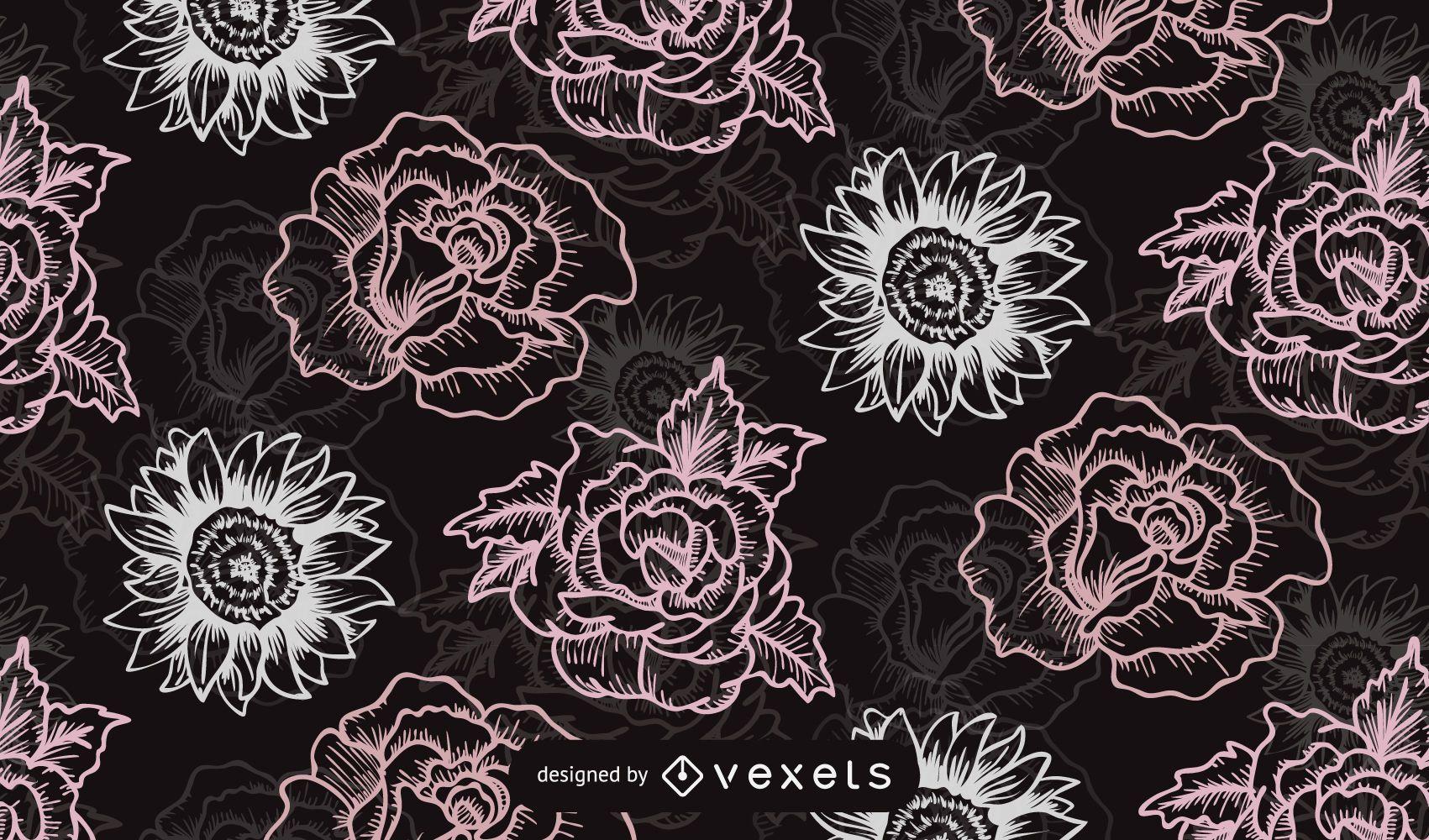 Seamless Retro Rose Pattern Black Background