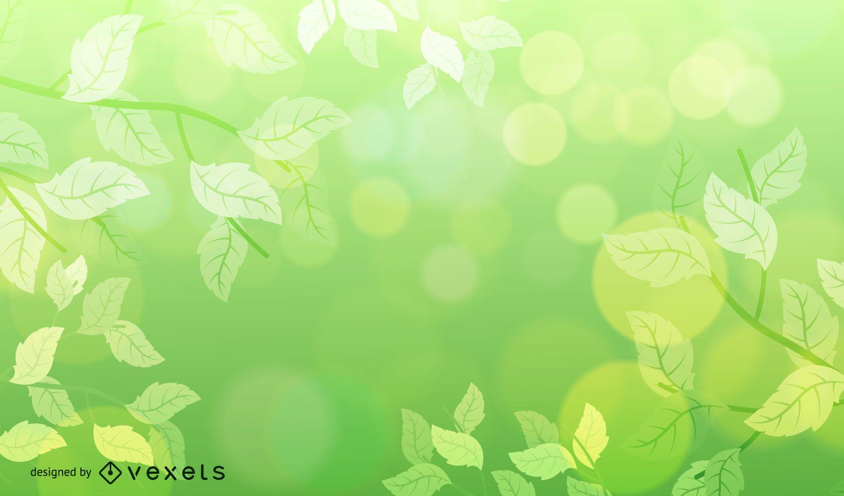 Fondo verde naturaleza borrosa con burbujas Bokeh
