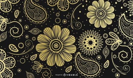 Fondo ornamental de oro de Paisley