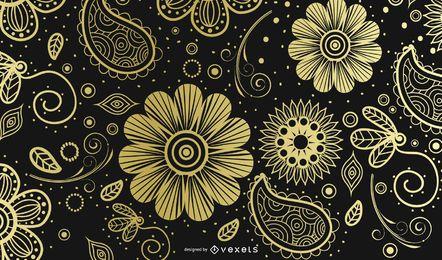 Goldener Paisley-Ornamentalhintergrund