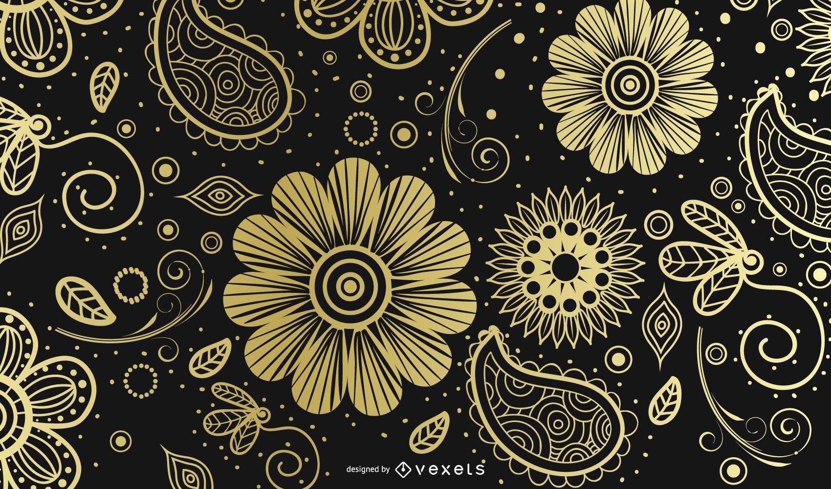 Golden Paisley Ornamental Background