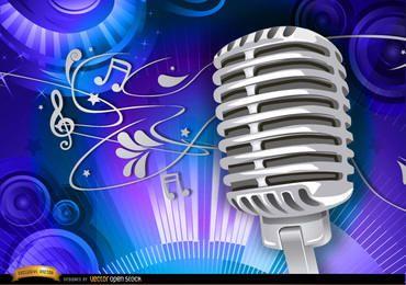 Fundo musical de microfone