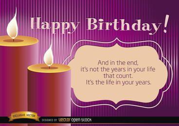 Feliz aniversário velas com mensagem de vida