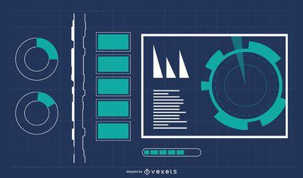 Fondo de tecnología digital con información gráfica