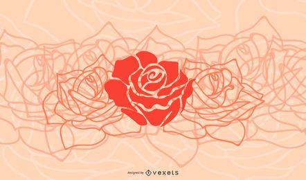 Fundo de flor simplista com rosas vermelhas