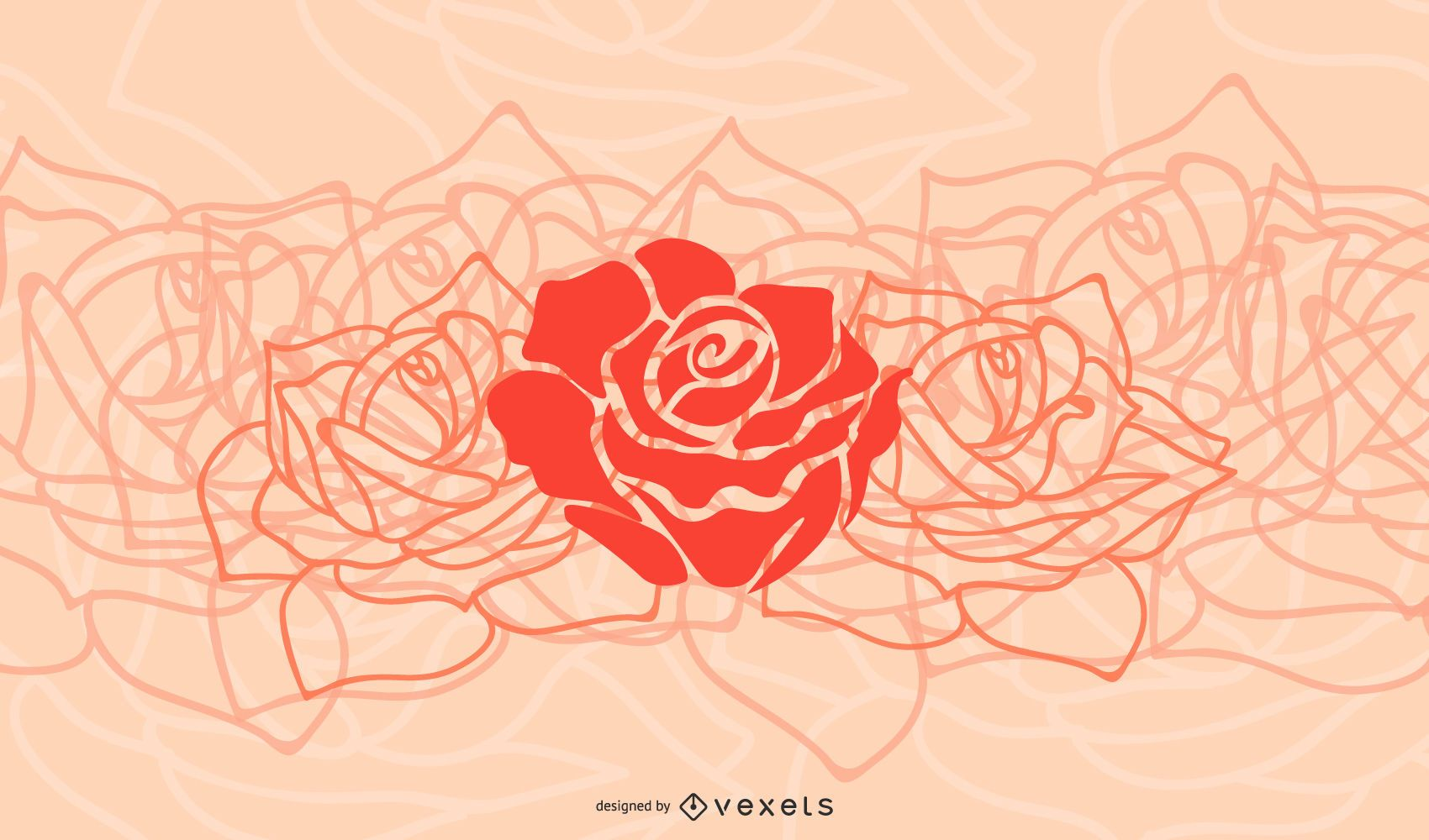 Simplistic Flower Background with Red Roses