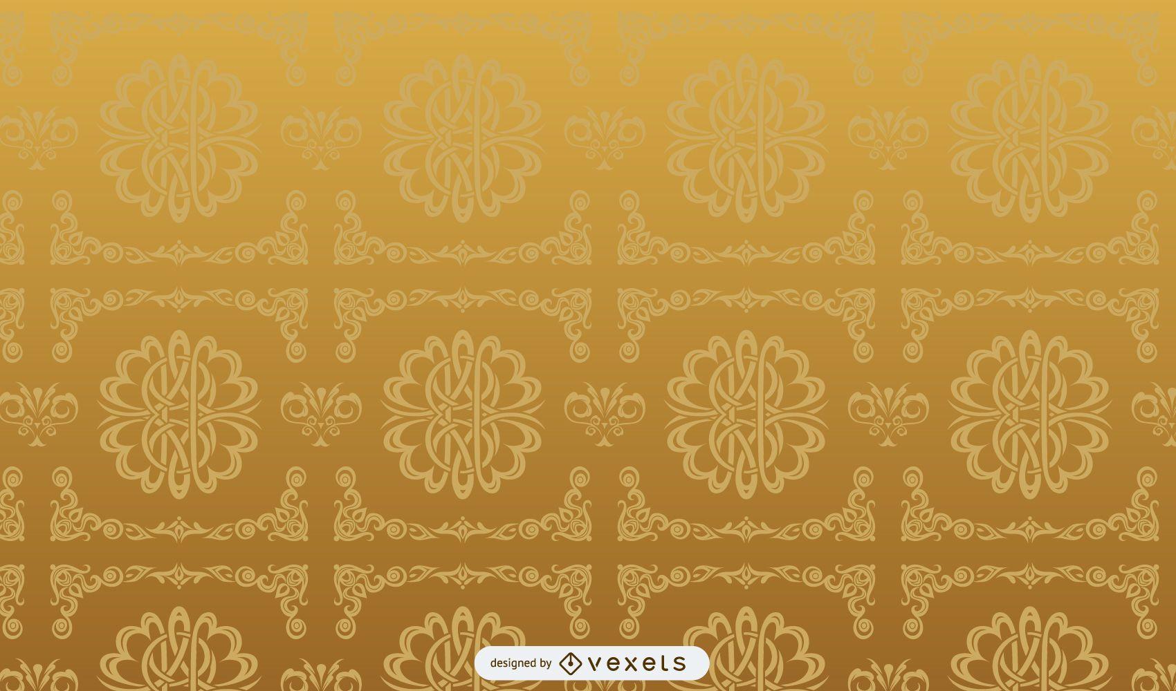 Golden Retro Ornamental Pattern