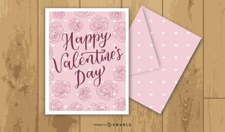 Plantilla de tarjeta vintage con rosa
