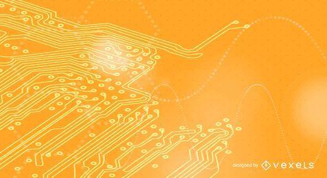 Fondo de tecnología naranja de placa de circuito